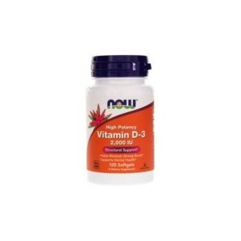 NOW FOODS Vitamin D3 2000 IU 120 kap.