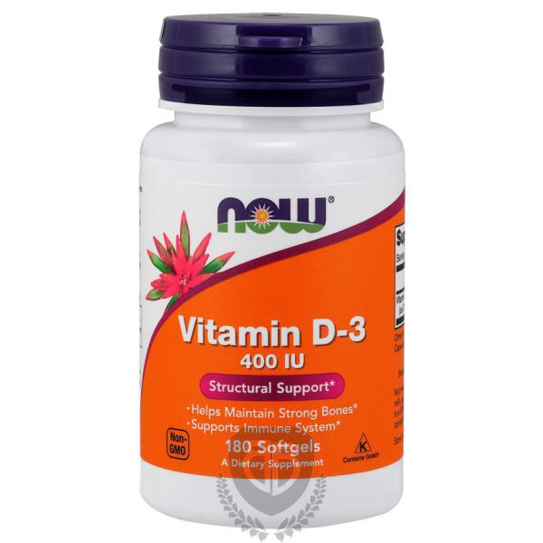 NOW FOODS Vitamin D3 180 kap. 400IU