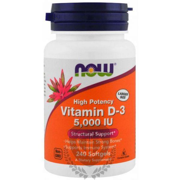 NOW FOODS Vitamin D3 5000 IU 240 kap.