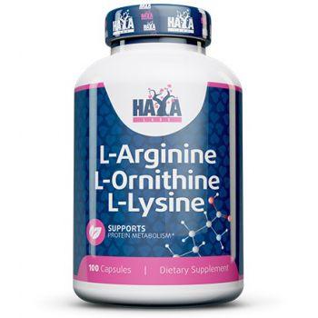 HAYA LABS L-Arginine L-Ornithine L-Lysine 100 kap.